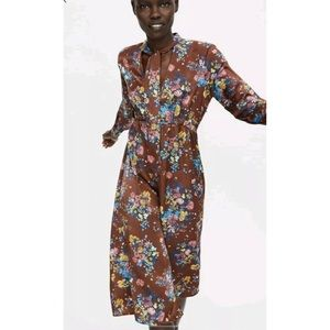 NWT! Zara Brown Floral Dress - Size Small